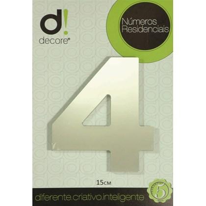 Número Residencial Alumínio Espelhado Cromado 15cm - 4
