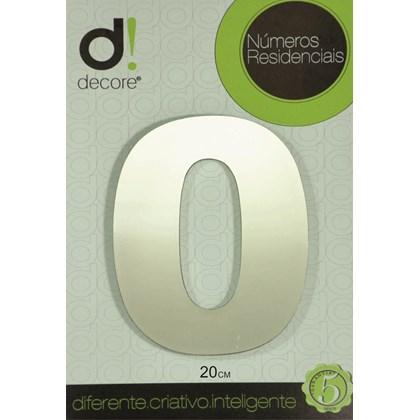 Número Residencial Alumínio Espelhado Cromado 20cm - 0