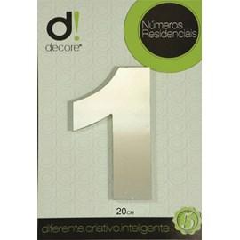 Número Residencial Alumínio Espelhado Cromado  20cm - 1