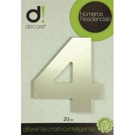 Número Residencial Alumínio Espelhado Cromado 20cm - 4