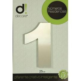 Número Residencial Alumínio Espelhado Cromado 25cm - 1