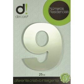 Número Residencial Alumínio Espelhado Cromado 25cm - 9